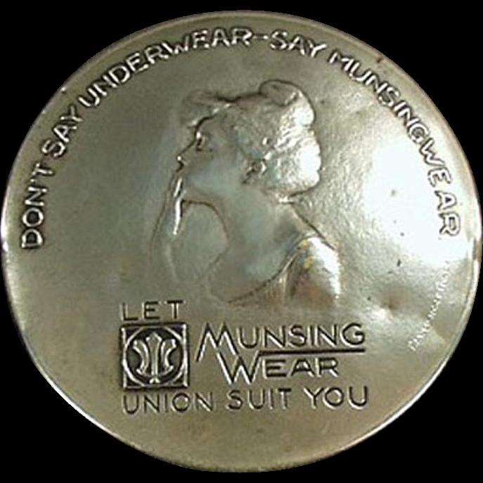 Vintage Advertising Mirror - Munsingwear Underwear - Metal - Girl Blowing Kiss