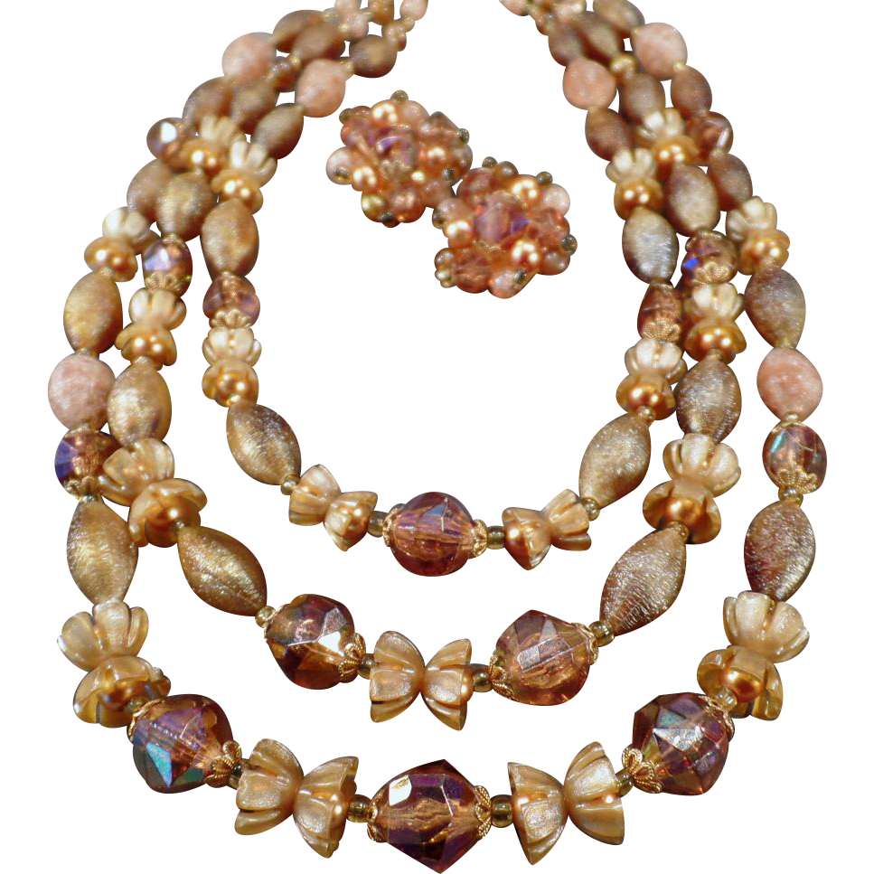 Vintage Costume Jewelry - Triple Strand Bead Necklace & Earrings – Warm Autumn Colors