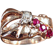 Ladies Vintage Retro Ring - Rubies & Diamonds Set in 14k Rose Gold