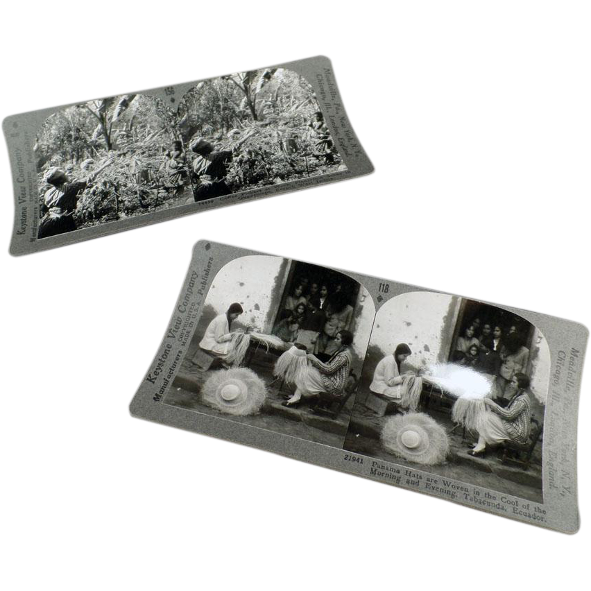 Vintage Stereoscopic Cards - Two Cards - Panama Hats & Coffee Picking