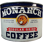 Vintage Coffee Tin - 1# Monarch Key Wind Can - Reid Murdoch Co