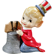 Vintage Fourth of July Porcelain Bell – Pixie with Liberty Bell