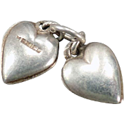 Vintage Silver Charms - Two Tiny Puffy Hearts - Made in Mexico