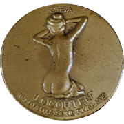 Vintage Bronze Paperweight Medallion - Ciba Locorten Advertising with Nude Woman