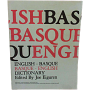Vintage Paperback- English Basque/Basque English Dictionary - Joe Eiguren