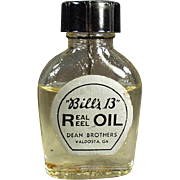Vintage Glass Bottle -  Bill's 13 Real Reel Oil with Label