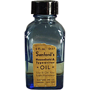 Vintage Oil Bottle - Sanford's Blue Glass Typewriter Oil