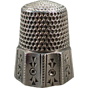 Vintage Sterling Silver Thimble - Paneled with Decorative Geometric Designs