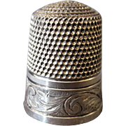 Vintage Sterling Thimble – Hand Tooled Scroll Design - Simons Brothers Size 11