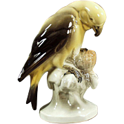 Vintage Ceramic Bird Figurine - Yellow Parakeet - Hertwig of Germany