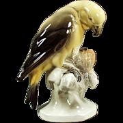 Vintage Ceramic Bird Figurine - Yellow Parakeet - Hertwig of Germany