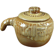 Vintage Frankoma Pottery -  Mayan Aztec Covered Bean Pot - Desert Gold Glaze
