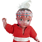 "Vintage Celluloid Doll - Very Cute Indian Brave 7"" Doll"
