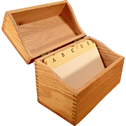 "Vintage Oak File Box – 3""x5"" Index Card Size for Kitchen or Office"