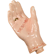 Vintage Figural Porcelain Flask – The Glad Hand Nip with a Gold Band Ring