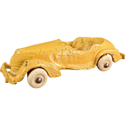 Vintage Cast Iron Toy - Small Convertible Car with Original Yellow Paint