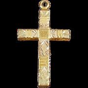 Vintage Cross Pendant with Etched Design - Gold Filled