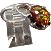 Artisan Made Sterling Ring - Unusual Side Mount - Beautiful Fire Agate - Nice Pinkie Ring