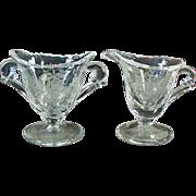Vintage Heisey Glassware - Orchid Etch on Waverly Pattern - Individual Cream & Sugar Set