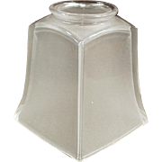 Vintage Light Fixture Shade -Single Frosted Glass Shade with Deco Style