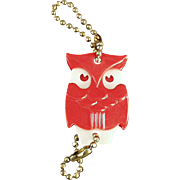 Vintage Figural Key Chain - Red Owl with Advertising - 1950's