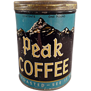 Vintage Coffee Tin - Independent Grocers Alliance Peak Brand Coffee