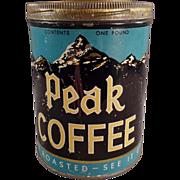 Vintage Coffee Tin - Independent Grocers Alliance Peak Brand Coffee