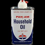 Vintage Oil Tin -  American Oil Co. Pan-Am Household Oil Tin