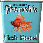Vintage French's Fish Food Tin with Goldfish Graphics