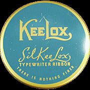 Vintage KeeLox Typewriter Ribbon Tin - Blue and Gold SilKee Lox