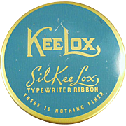 Vintage KeeLox Typewriter Ribbon Tin - Blue and Gold SilKee Lox