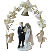 Vintage Wedding Bride & Groom Cake Topper with Flower Arch
