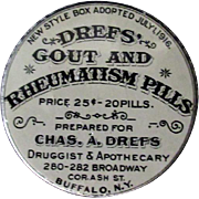 Vintage Drefs' Gout & Rheumatism Pills Tin – Old medical Advertising