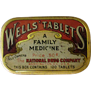 Vintage Laxative Tin - National Drug Wells' Tablets - Old Medical Advertising