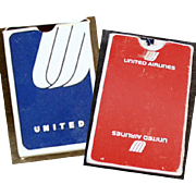 Vintage Souvenir Playing Cards - 2 Decks with United Airlines Advertising