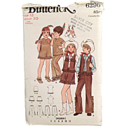 Vintage Butterick #6296 Pattern - Cowboys & Indians Children's Costumes