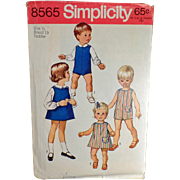 #8565 Vintage Simplicity Pattern - Toddler - Suit, Dress or Jumper & Blouses - 1969