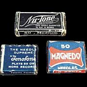 Vintage Steel Phonograph Needles - Three Assorted Boxes