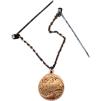 Vintage Hat or Hair Pins with The Lord's Prayer Dangle