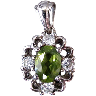 Vintage Birthstone Pendant - Synthetic Peridot and Faux Diamonds in Sterling