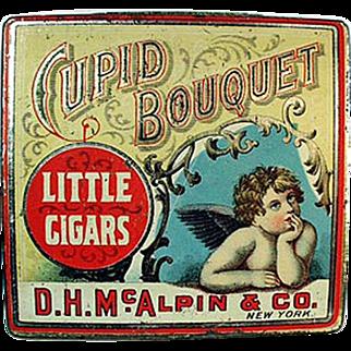 Vintage Cupid Bouquet Little Cigars Tobacco Tin - Nice Cherub Graphics