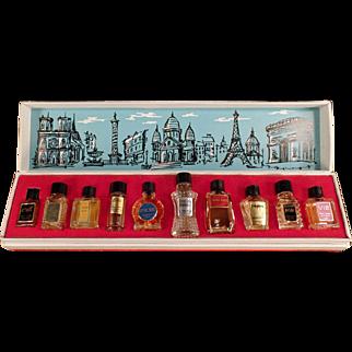 Vintage Les Grands Parfums de France - 10 Miniature Perfume Bottles in Box