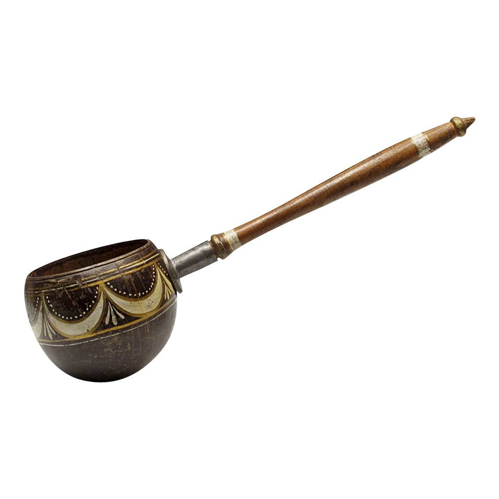 Antique Painted Coconut Dipper - American 19th C Folk Art - Americana - Primitives