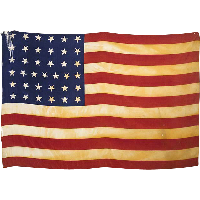 37 Star American Flag - 1867 - 1877 - Americana - Framed Silk Parade Flag