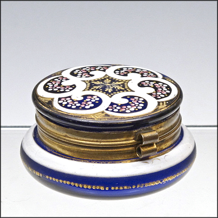 Antique Cobalt Blue Enameled Dresser Box  - Patch Box - Powder Jar - Casket