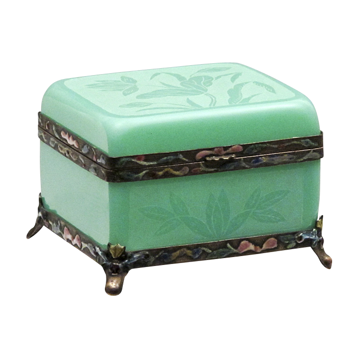 Peking Glass Box - Qing Dynasty Faux Jade with Enamel Mounts and Lotus Etching - c. 1900