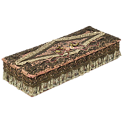 Metallic Lace Dresser Box with Ribbon Rose Decoration