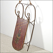 Antique Cutter Sled / Sleigh with Curlicue Iron Runners and Painted Flowers - Great Small Size