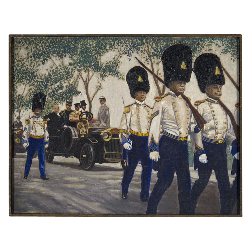 Early 20th C Painting of Grenadier Parade - Oil on Canvas