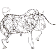 Wire Bull Sculpture by Thai Varick - Folk Art - Outsider Art